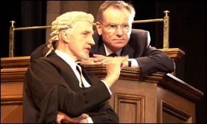 Archer on stage with Edward Petherbridge as Sir James Barrington QC