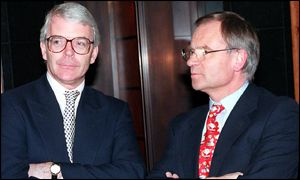 Former PM John Major left, Jeffrey Archer right
