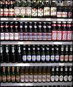 Supermarket beer shelves