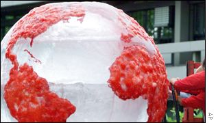 Red ice sculpture of earth