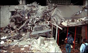 [ image: The remains of the van in which the bomb was hidden]