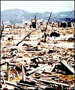 [ image: Hiroshima; Everything within a four kilometre radius was obliterated]