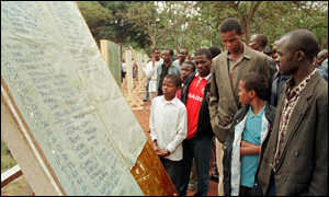 [ image: Kenyans scan the lists of hospital admissions posted in Nairobi's Uhuru Park.]