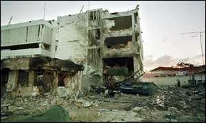 [ image: The remains of the US embassy in Dar es Salaam]