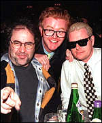 [ image: Drinking pals: Baker, Evans and Gazza pictured on one of their notorious drinking sessions]