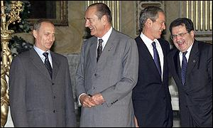 Valdimir Putin, Jacques Chirac, George W Bush and Romano Prodi in a light moment