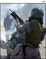Police firing tear gas
