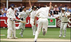 Mark Butcher falls to Jason Gillespie
