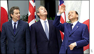Tony Blair, George Bush and Silvio Berlusconi