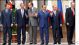 Tony Blair with other summit leaders