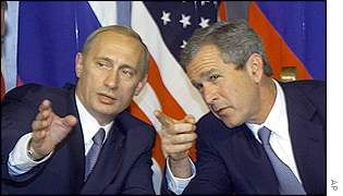 George W. Bush and Vladimir Putin