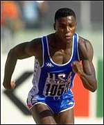 Carl Lewis in action in 1987