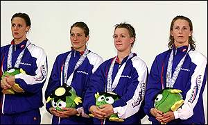 Alison Sheppard, Melanie Marshall and Ros Brett and Karen Pickering won silver in the 100m freestyle relay