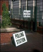 Empty polling station during the 2001 general election