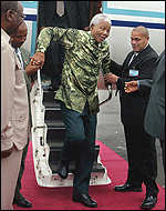Nelson Mandela arriving in Arusha, Tanzania, for a round of peace talks on Monday