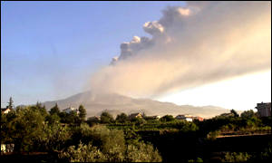 Plume of smoke and ash rising from Mount Etna