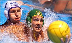 Australia's Thomas Whalan [right] and Russia's Sergei Garbouzov battle for position