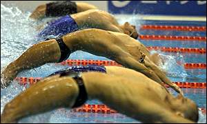 Matt Welsh of Australia (3rd from top) in action in the 50m backstroke event