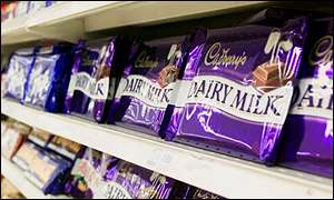 Cadbury chocolate on shelf