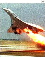 Concorde on fire