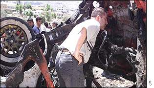 Wreckage of car in which Palestinian militant Salah Darwazeh was killed