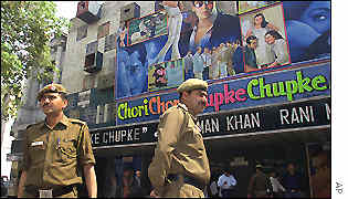 Police on guard at a Delhi cinema