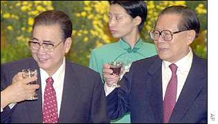 Chinese President Jiang Zemin, right, and Li Peng, chairman of National Peoples Congress
