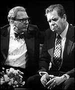 Donoghue as Kissinger talks to a despondent Jochim as Nixon, picture by Sandy Underwood