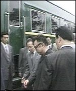 Kim Jong-il boards his special train