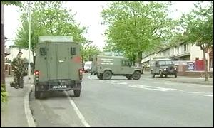 The army patrols in Ardoyne following a night of violence