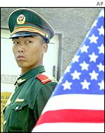 Chinese soldier outside US embassy in Beijing