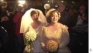Dutch brides Helene Faasen, left, and Anne-Marie Thus