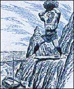 A drawing of Cyclops standing on Mount Etna, throwing a rock at Ulysses boat