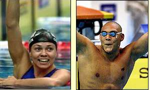 America's Natalie Coughlin and Australia's  Glenn Huegill celebrate victories