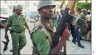 Haitian soldiers on the street in 1991