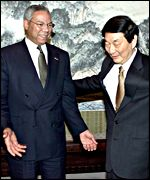 Colin Powell with Chinese Prime Minister Zhu Rongji