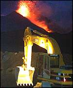 Digger on Mount Etna