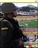 Soldiers in Bogota before the match