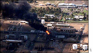 Fire caused by the explosion at the Longford plant, 1998