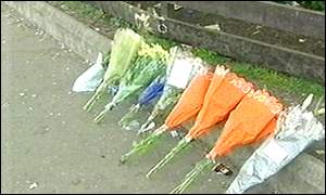 Flowers mark the spot where the teenager died