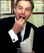 Tony Blair eating chips