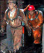 Rescuers at a Chinese coal mine, 2001