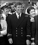 Prince Andrew returns from the Falkland Islands on board HMS Invincible