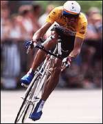 Miguel Indurain cycles against the clock in 1994