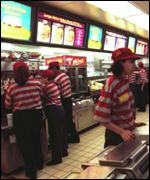 Staff working at a McDonald's restaurant