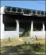 Damaged police station in Andhra Pradesh