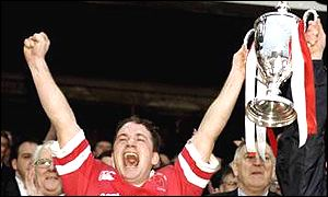 Ulster captain David Humphreys holding aloft the European Cup after their 1999 victory in the final against Colomiers