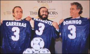 Luciano Pavarotti (left) Jose Carreras and Placido Domingo pose at the World Cup