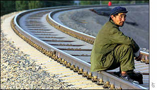 Man sitting on railway line