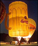 Hot-air balloons in the shape of beer glasses